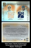 2003 Topps Tribute Contemporary Performance Double Relics #RR