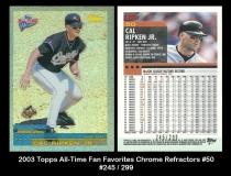 2003 Topps All-Time Fan Favorites Chrome Refractors #50