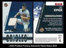 2003 Topps Pristine Primary Elements Patch Relics #CR