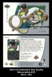 2003 UD Authentics Star Quality Memorabilia #CR