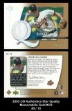 2003 UD Authentics Star Quality Memorabilia Gold #CR