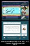 2004 Absolute Memorabilia Tools of the Trade Signature Green Spectrum #24