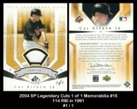 2004 SP Legendary Cuts 1 of 1 Memorabilia #15 114 RBI in 1991