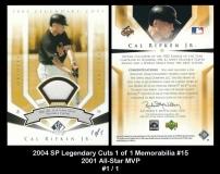 2004 SP Legendary Cuts 1 of 1 Memorabilia #15 2001 All-Star MVP