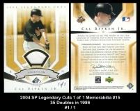 2004 SP Legendary Cuts 1 of 1 Memorabilia #15 35 Doubles in 1986