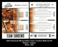 2004 Absolute Memorabilia Team Tandem Material #4