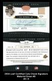 2004 Leaf Certified Cuts Check Signature Material Green #9