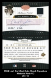 2004 Leaf Certified Cuts Check Signature Material Red #10