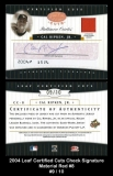 2004 Leaf Certified Cuts Check Signature Material Red #8