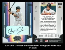 2004 Leaf Certified Materials Mirror Autograph White #223