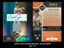 2004 Leaf Limited Moniker Jersey #206
