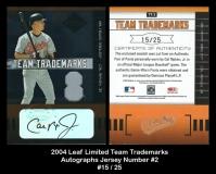 2004 Leaf Limited Team Trademarks Autographs Jersey Number #2