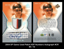 2004 SP Game Used Patch HOF Numbers Autograph #CR
