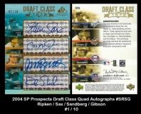 2004 SP Prospects Draft Class Quad Autographs #SRSG