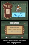 2004 Timeless Treasures Rookie Year Materials Signature #11