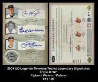2004 UD Legends Timeless Teams Legendary Signatures Triple #RWP