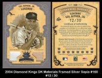 2004 Diamond Kings DK Materials Framed Silver Sepia #160