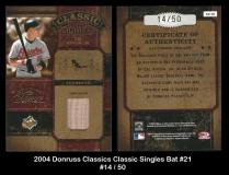 2004 Donruss Classics Classic Singles Bat #21