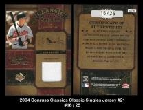 2004 Donruss Classics Classic Singles Jersey #21
