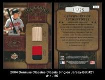 2004 Donruss Classics Classic Singles Jersey-Bat #21