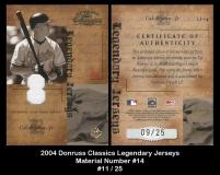 2004 Donruss Classics Legendary Jerseys Material Number #14
