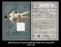 2004 Donruss Classics Membership VIP Jersey #21