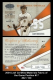 2004 Leaf Certified Materials Fabric of the Game Position #17
