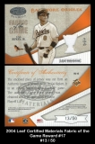 2004 Leaf Certified Materials Fabric of the Game Reward #17