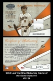 2004 Leaf Certified Materials Fabric of the Game Stats #17