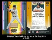 2004 Leaf Certified Materials Mirror Bat Gold #223