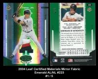 2004 Leaf Certified Materials Mirror Fabric Emerald AL NL #223