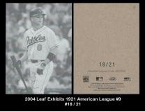 2004 Leaf Exhibits 1921 American League #9