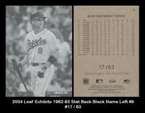 2004 Leaf Exhibits 1962-63 Stat Back Black Name Left #9