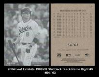 2004 Leaf Exhibits 1962-63 Stat Back Black Name Right #9