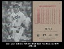 2004 Leaf Exhibits 1962-63 Stat Back Red Name Left #9