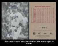 2004 Leaf Exhibits 1962-63 Stat Back Red Name Right #9