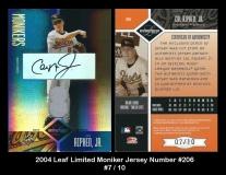 2004 Leaf Limited Moniker Jersey Number #206