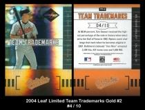 2004 Leaf Limited Team Trademarks Gold #2