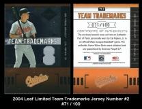 2004 Leaf Limited Team Trademarks Jersey Number #2