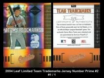 2004 Leaf Limited Team Trademarks Jersey Number Prime #2