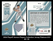 2004 Playoff Honors Players Collection Jersey Platinum #13