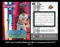 2005 Leaf Certified Materials Mirror Autograph Red #191