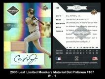 2005 Leaf Limited Monikers Material Bat Platinum #167