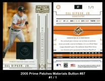 2005 Prime Patches Materials Button #87
