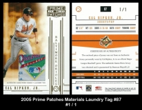 2005 Prime Patches Materials Laundry Tag #87