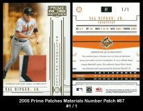 2005 Prime Patches Materials Number Patch #87