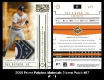 2005 Prime Patches Materials Sleeve Patch #87
