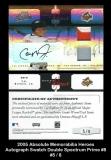 2005 Absolute Memorabilia Heroes Autograph Swatch Double Spectrum Prime #8