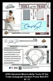 2005 Absolute Memorabilia Tools of the Trade Autograph Swatch Prime Red #73