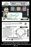 2005 Absolute Memorabilia Tools of the Trade Autograph Swatch Triple Prime Black #73